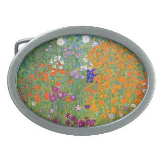 Gustav Klimt: Flower Garden Oval Belt Buckle