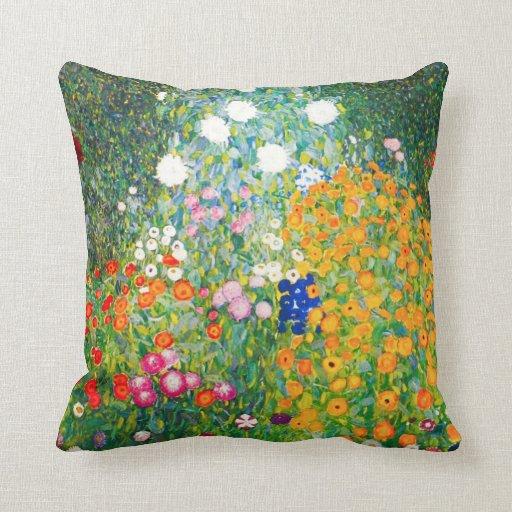 Gustav Klimt Flower Garden Pillow