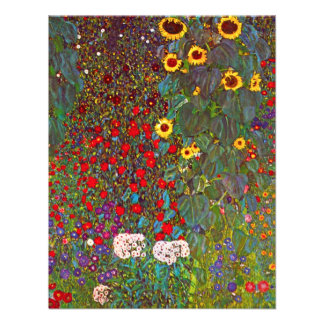 Gustav Klimt Garden with Sunflowers Invitations