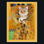 "Gustav Klimt gold cute cat spoof postcard<br><div class=""desc"">This is a spoof of Gustav Klimt&#39;s portrait painting of Adele Bloch-Bauer, also known as &quot;The Woman in Gold.&quot; Because my version features a cat, it&#39;s titled &quot;The Cat in Gold.&quot; You can change the border color if you&#39;d like. This image is also available on other products in my Zazzle...</div>"