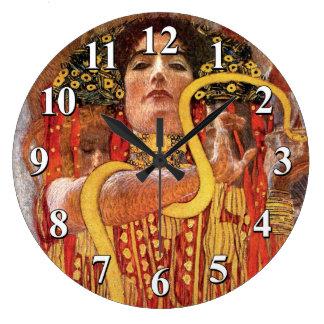 Gustav Klimt - Hygieia Medicine Goddess of Health Large Clock