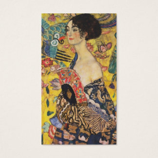 Gustav Klimt Lady With Fan Art Nouveau Painting Business Card
