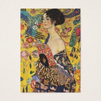 Gustav Klimt Lady With Fan Art Nouveau Painting Business Card