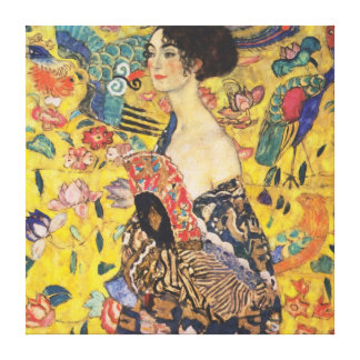 Gustav Klimt Lady With Fan Art Nouveau Painting Canvas Print
