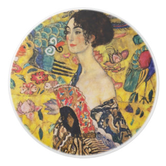 Gustav Klimt Lady With Fan Art Nouveau Painting Ceramic Knob