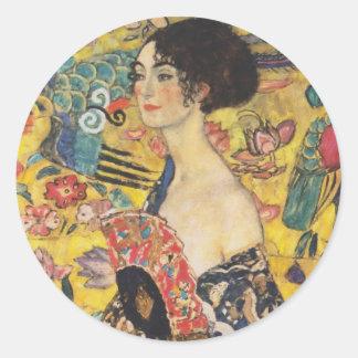 Gustav Klimt Lady With Fan Art Nouveau Painting Classic Round Sticker