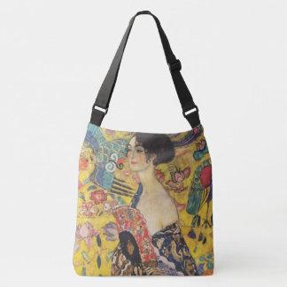 Gustav Klimt Lady With Fan Art Nouveau Painting Crossbody Bag