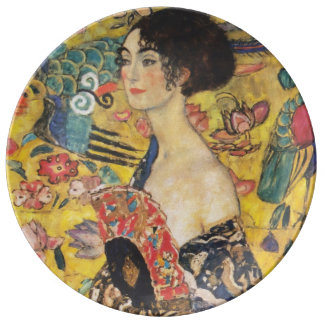 Gustav Klimt Lady With Fan Art Nouveau Painting Dinner Plate
