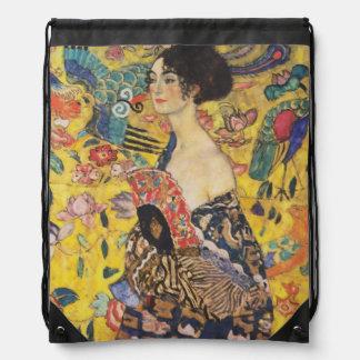 Gustav Klimt Lady With Fan Art Nouveau Painting Drawstring Bag