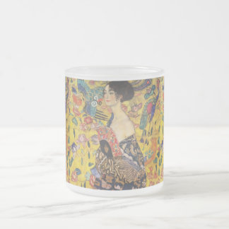 Gustav Klimt Lady With Fan Art Nouveau Painting Frosted Glass Coffee Mug