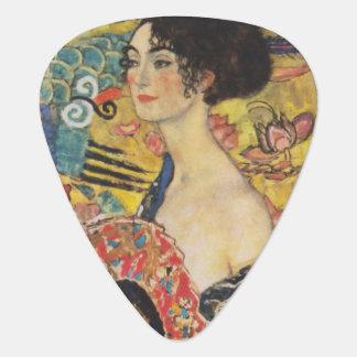 Gustav Klimt Lady With Fan Art Nouveau Painting Guitar Pick