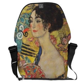 Gustav Klimt Lady With Fan Art Nouveau Painting Messenger Bag