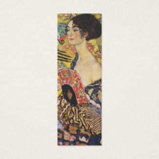 Gustav Klimt Lady With Fan Art Nouveau Painting Mini Business Card