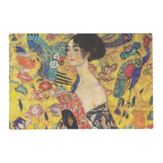 Gustav Klimt Lady With Fan Art Nouveau Painting Placemat