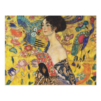 Gustav Klimt Lady With Fan Art Nouveau Painting Postcard