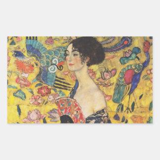 Gustav Klimt Lady With Fan Art Nouveau Painting Rectangular Sticker