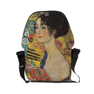 Gustav Klimt Lady With Fan Art Nouveau Painting Small Messenger Bag