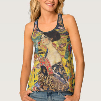 Gustav Klimt Lady With Fan Art Nouveau Painting Tank Top