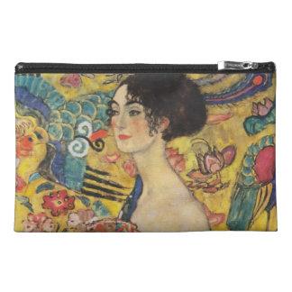 Gustav Klimt Lady With Fan Art Nouveau Painting Travel Accessory Bag