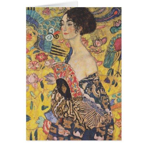 Gustav Klimt Lady With Fan Greeting Card