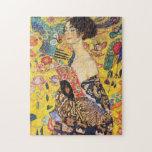 "Gustav Klimt Lady With Fan Jigsaw Puzzle<br><div class=""desc"">Gustav Klimt Lady With Fan Jigsaw Puzzle.</div>"