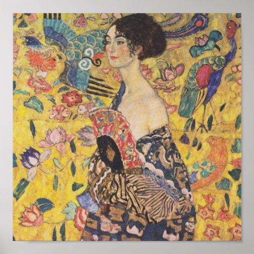 Gustav Klimt Lady With Fan Poster
