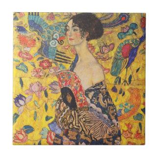 Gustav Klimt Lady with Fan Vintage Ceramic Tile