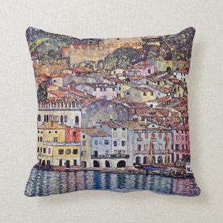Gustav Klimt - Malcesine at Lake Garda Italy Throw Pillow