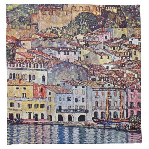 Gustav Klimt - Malcesine at Lake Garda Printed Napkins