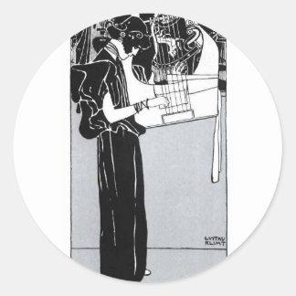 Gustav Klimt ~ Musik Classic Round Sticker