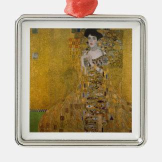 Gustav Klimt Square Metal Christmas Ornament