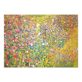 Gustav Klimt Pink Flowers Invitations