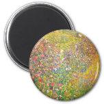 Gustav Klimt Pink Flowers Magnet