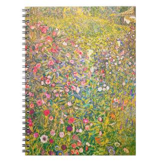 Gustav Klimt Pink Flowers Notebook