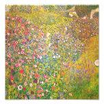 Gustav Klimt Pink Flowers Print Photo Print