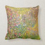 Gustav Klimt Pink Flowers Throw Pillows