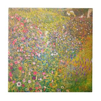 Gustav Klimt Pink Flowers Tile
