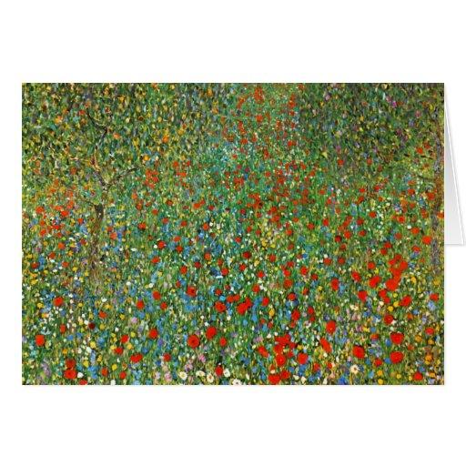 Gustav Klimt Poppy Field Greeting Card