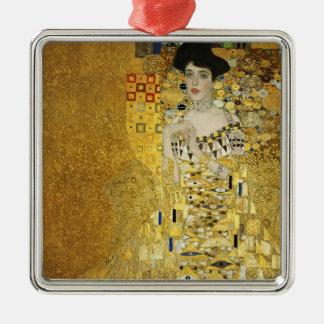 Gustav Klimt- Portrait of Adele Bloch-Bauer I Square Metal Christmas Ornament