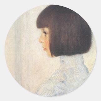 Gustav Klimt Portrait of Helene Klimt Classic Round Sticker