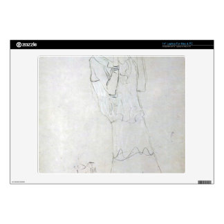 Gustav Klimt - Profile standing female figure with Laptop Decals