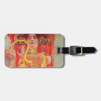 Gustav Klimt Red Woman Gold Snake Painting Bag Tag