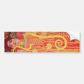 Gustav Klimt Red Woman Gold Snake Painting Bumper Sticker