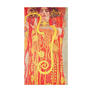 Gustav Klimt Red Woman Gold Snake Painting Canvas Print