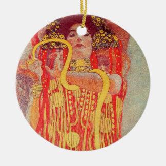 Gustav Klimt Red Woman Gold Snake Painting Ceramic Ornament