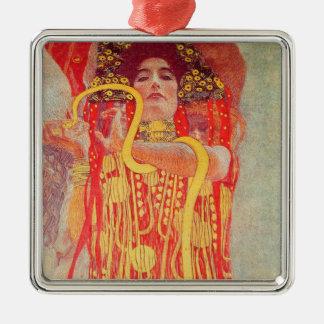 Gustav Klimt Red Woman Gold Snake Painting Metal Ornament