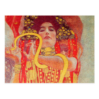 Gustav Klimt Red Woman Gold Snake Painting Postcard