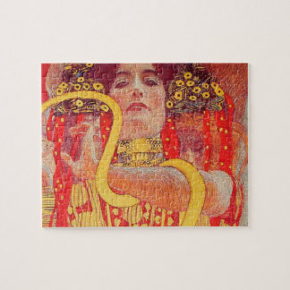 Gustav Klimt Red Woman Gold Snake Painting Puzzles