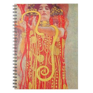 Gustav Klimt Red Woman Gold Snake Painting Spiral Notebook