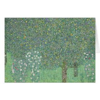 Gustav Klimt - Rosebushes under the Trees Card